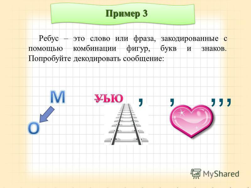 Пример 3 Ребус – это слово или фраза, закодированные с помощью комбинации фигур, букв и знаков. Попробуйте декодировать сообщение:,,,,,