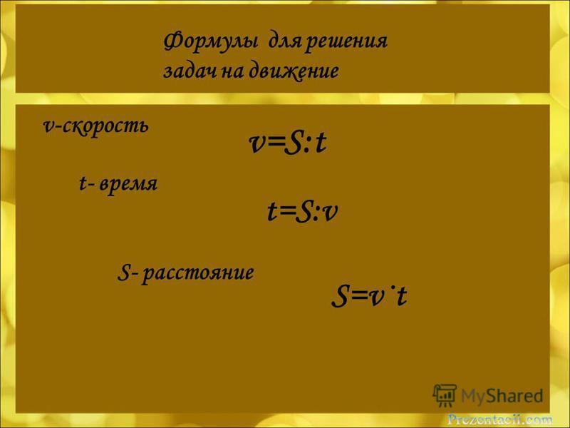Формулы для решения задач на движение v-скорость t- время S- расстояние v=S:t t=S:v S=v·t