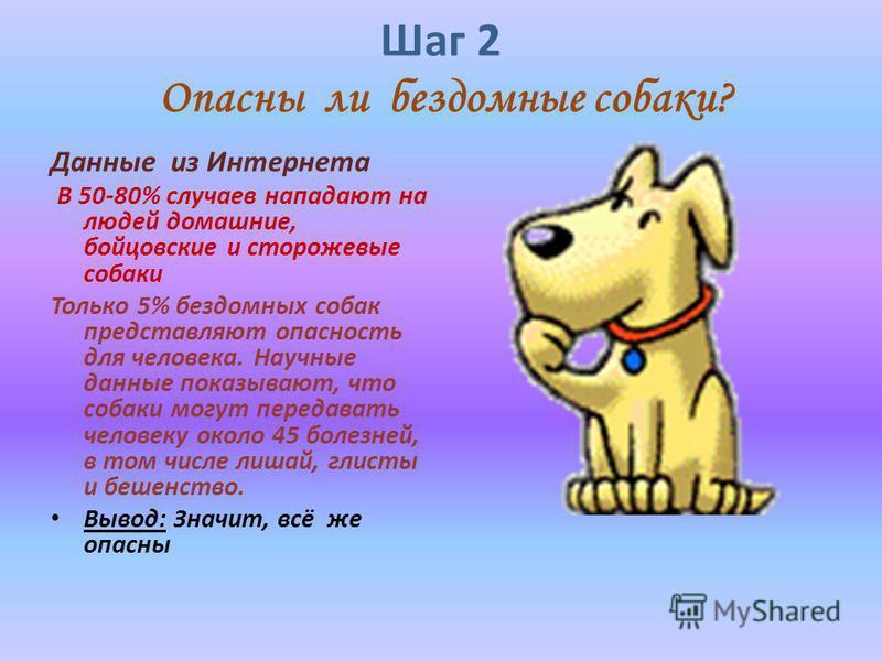 Шаг 2 Опасны ли бездомные собаки? Данные из Интернета В 50-80% случаев нападают на людей домашние, бойцовские и сторожевые собаки Только 5% бездомных собак представляют опасность для человека. Научные данные показывают, что собаки могут передавать че