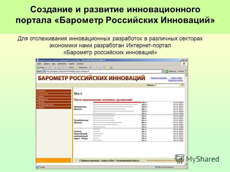 Создание и развитие инновационнойго портала «Барометр Российских Инноваций» Для отслеживания инновационных разработок в различных секторах экономики нами разработан Интернет-портал «Барометр российских инноваций»