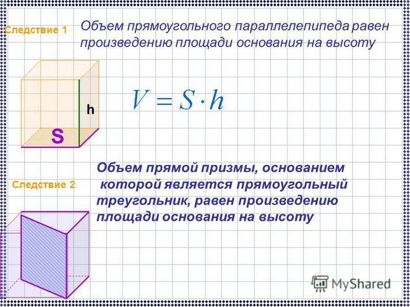 Следствие 1 Объем прямоугольного параллелепипеда равен произведению площади основания на высоту S h Следствие 2 Объем прямой призмы, основанием которой является прямоугольный треугольник, равен произведению площади основания на высоту