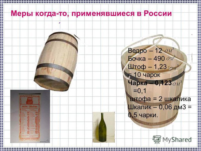 Ведро – 12 Бочка – 490 Штоф – 1,23 = 10 чарок Чарка – 0,123 =0,1 штофа = 2 шкалика Шкалик – 0,06 дм 3 = 0,5 чарки. Меры когда-то, применявшиеся в России