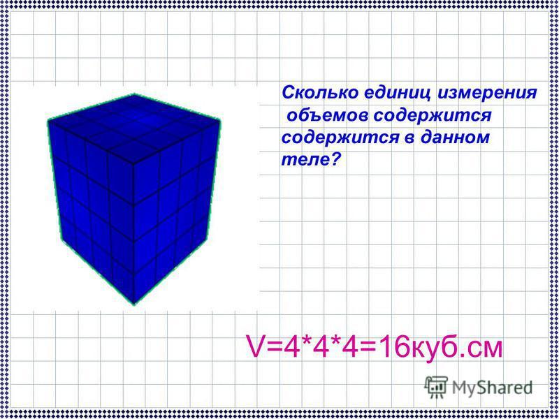Сколько единиц измерения объемов содержится содержится в данном теле? V=4*4*4=16 куб.см