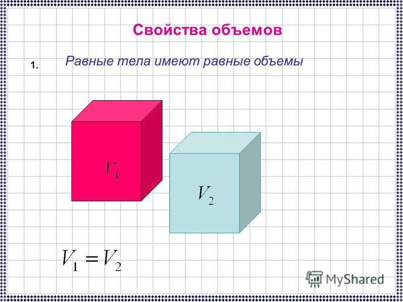 Свойства объемов 1. Равные тела имеют равные объемы