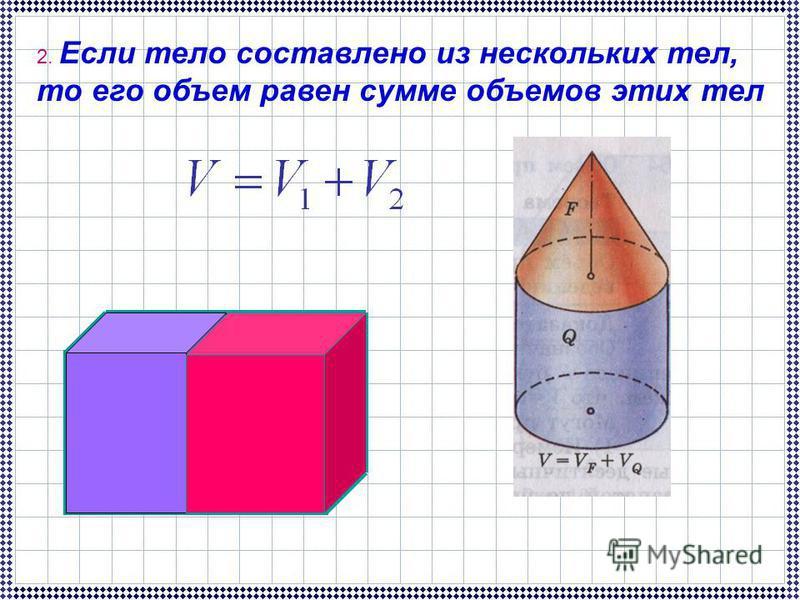 2. Если тело составлено из нескольких тел, то его объем равен сумме объемов этих тел