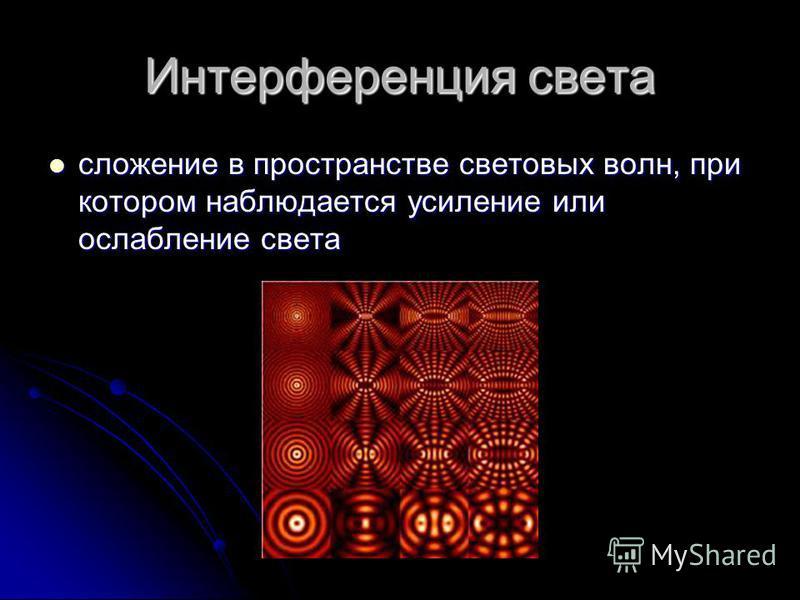 Интерференция света сложение в пространстве световых волн, при котором наблюдается усиление или ослабление света сложение в пространстве световых волн, при котором наблюдается усиление или ослабление света