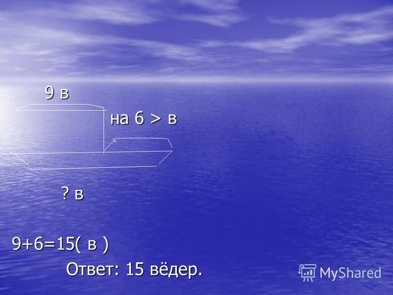 9 в 9 в на 6 > в на 6 > в ? в ? в 9+6=15( в ) Ответ: 15 вёдер. Ответ: 15 вёдер.
