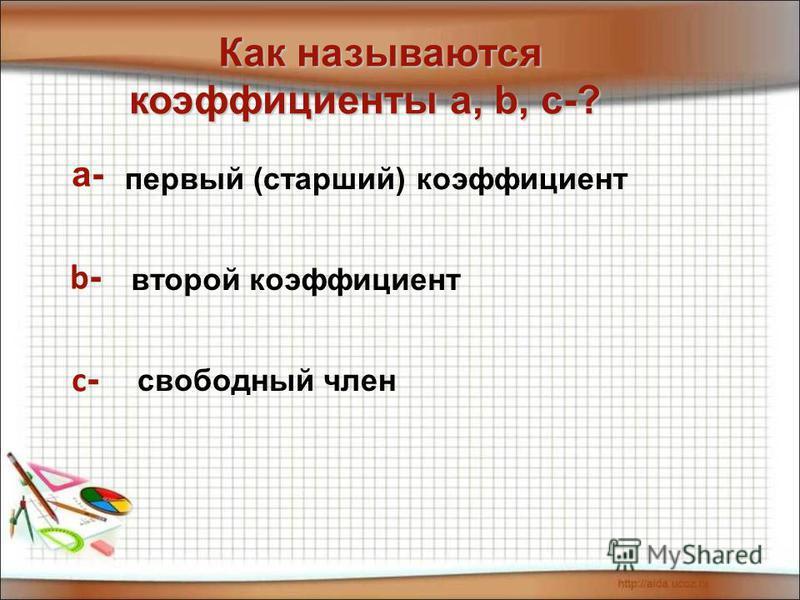 а- b - с - Как называются Как называются коэффициенты а, b, с-? коэффициенты а, b, с-? первый (старший) коэффициент второй коэффициент свободный член