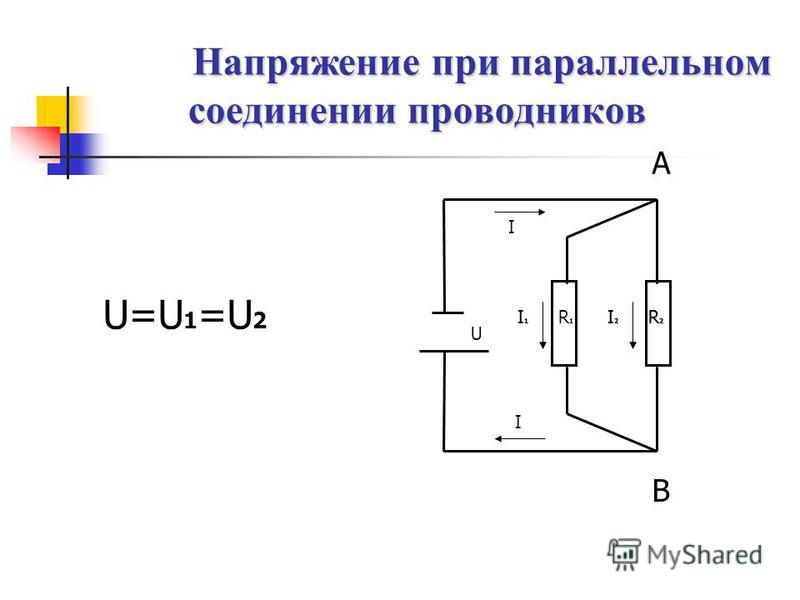 U=U 1 =U 2 Напряжение при параллельном соединении проводников А В I1I1 I2I2 R2R2 R1R1 I1I1 I2I2 R2R2 U I I