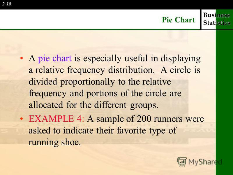 Business Statistics Pie Chart A pie chart is especially useful in displaying a relative frequency distribution. A circle is divided proportionally to the relative frequency and portions of the circle are allocated for the different groups. EXAMPLE 4: