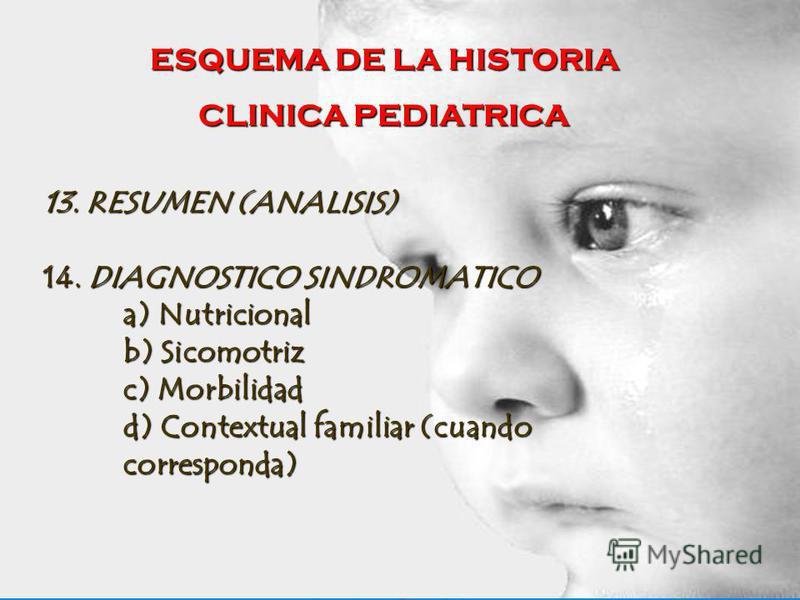 ESQUEMA DE LA HISTORIA CLINICA PEDIATRICA 13. RESUMEN (ANALISIS) 14. DIAGNOSTICO SINDROMATICO a) Nutricional b) Sicomotriz c) Morbilidad d) Contextual familiar (cuando corresponda)