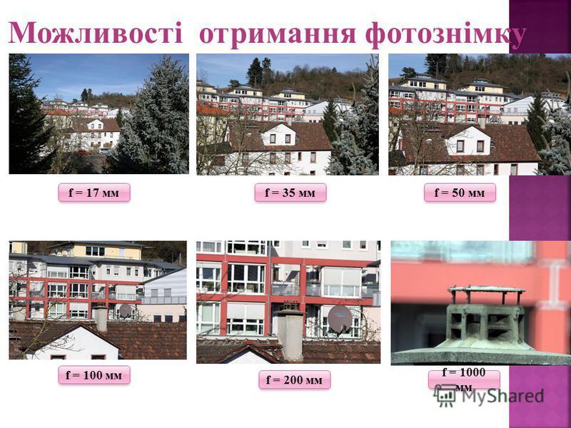 Можливості отримання фотознімку f = 17 мм f = 35 мм f = 50 мм f = 100 мм f = 200 мм f = 1000 мм