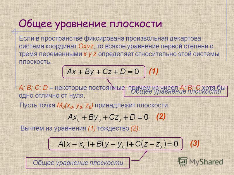 Общее уравнение плоскости Если в пространстве фиксирована произвольная декартова система координат Oxyz, то всякое уравнение первой степени с тремя переменными x y z определяет относительно этой системы плоскость. A; B; C; D – некоторые постоянные, п