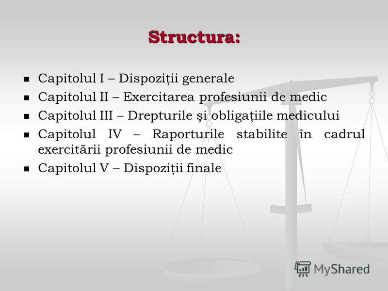 Structura: Capitolul I – Dispoziţii generale Capitolul II – Exercitarea profesiunii de medic Capitolul III – Drepturile şi obligaţiile medicului Capitolul IV – Raporturile stabilite în cadrul exercitării profesiunii de medic Capitolul V – Dispoziţii