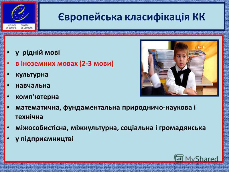 Європейська класифікація КК у рідній мові в іноземних мовах (2-3 мови) культурна навчальна комп ' ютерна математична, фундаментальна природничо-наукова і технічна міжособистісна, міжкультурна, соціальна і громадянська у підприємництві