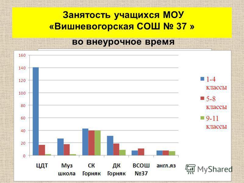 Занятость учащихся МОУ « Вишневогорская СОШ 37 » во внеурочное время