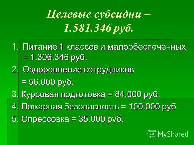 Целевые субсидии – 1.581.346 руб. 1. Питание 1 классов и малообеспеченных = 1.306.346 руб. 2. Оздоровление сотрудников = 56.000 руб. = 56.000 руб. 3. Курсовая подготовка = 84.000 руб. 4. Пожарная безопасность = 100.000 руб. 5. Опрессовка = 35.000 руб