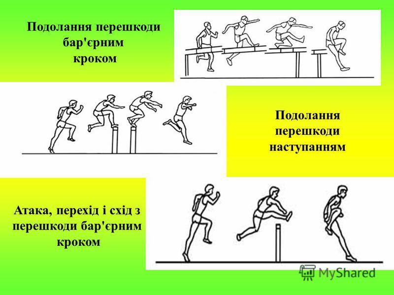 Подолання перешкоди бар'єрним кроком Подолання перешкоди наступанням Атака, перехід і схід з перешкоди бар'єрним кроком