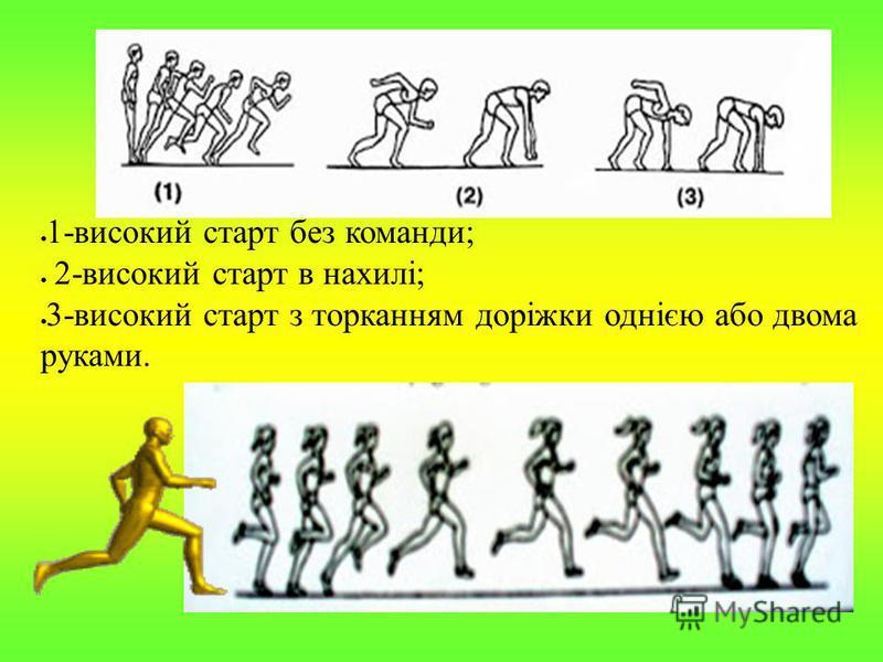 1-високий старт без команди; 2-високий старт в нахилі; 3-високий старт з торканням доріжки однією або двома руками.