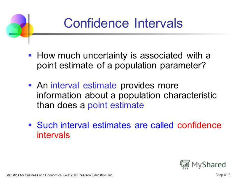 Statistics for Business and Economics, 6e © 2007 Pearson Education, Inc. Chap 8-12 Confidence Intervals How much uncertainty is associated with a point estimate of a population parameter? An interval estimate provides more information about a populat