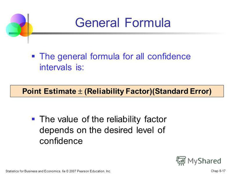 Statistics for Business and Economics, 6e © 2007 Pearson Education, Inc. Chap 8-17 General Formula The general formula for all confidence intervals is: The value of the reliability factor depends on the desired level of confidence Point Estimate (Rel
