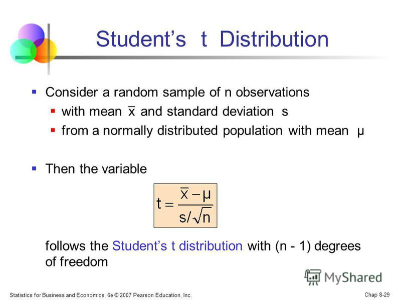 Statistics for Business and Economics, 6e © 2007 Pearson Education, Inc. Chap 8-29 Students t Distribution Consider a random sample of n observations with mean x and standard deviation s from a normally distributed population with mean μ Then the var
