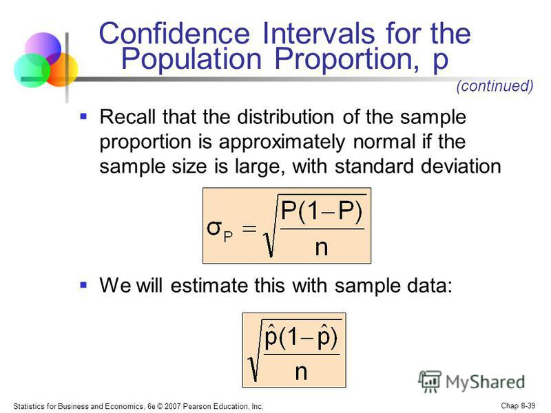 Statistics for Business and Economics, 6e © 2007 Pearson Education, Inc. Chap 8-39 Confidence Intervals for the Population Proportion, p Recall that the distribution of the sample proportion is approximately normal if the sample size is large, with s