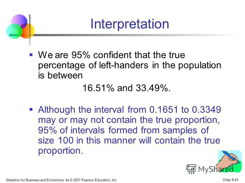Statistics for Business and Economics, 6e © 2007 Pearson Education, Inc. Chap 8-43 Interpretation We are 95% confident that the true percentage of left-handers in the population is between 16.51% and 33.49%. Although the interval from 0.1651 to 0.334