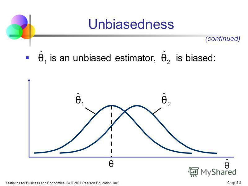 Statistics for Business and Economics, 6e © 2007 Pearson Education, Inc. Chap 8-8 is an unbiased estimator, is biased: Unbiasedness (continued)