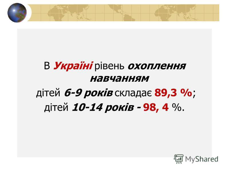 В Україні рівень охоплення навчанням дітей 6-9 років складає 89,3 %; дітей 10-14 років - 98, 4 %.