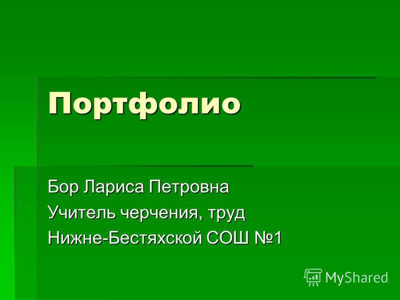 Портфолио Бор Лариса Петровна Учитель черчения, труд Нижне-Бестяхской СОШ 1