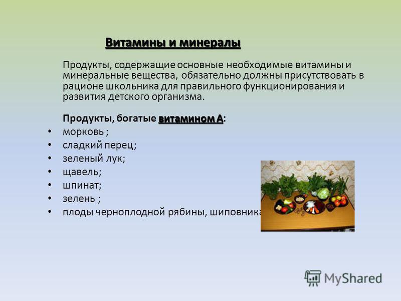 Витамины и минералы витамином А Витамины и минералы Продукты, содержащие основные необходимые витамины и минеральные вещества, обязательно должны присутствовать в рационе школьника для правильного функционирования и развития детского организма. Проду
