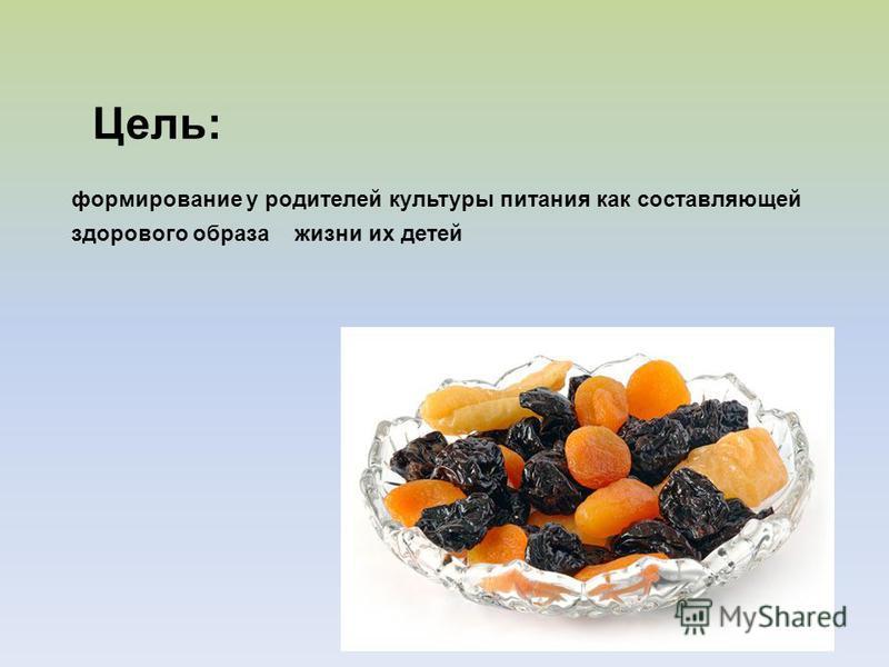 Цель: формирование у родителей культуры питания как составляющей здорового образа жизни их детей