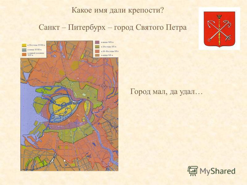 Какое имя дали крепости? Санкт – Питербурх – город Святого Петра Город мал, да удал…