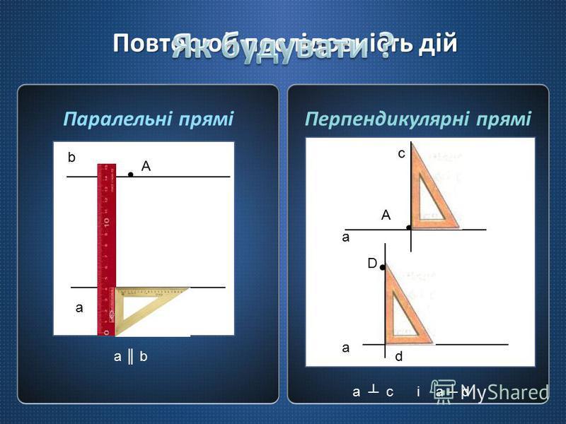 Повторюй послідовність дій Паралельні пряміПерпендикулярні прямі AA A a b A a c a D a bd a c і a d