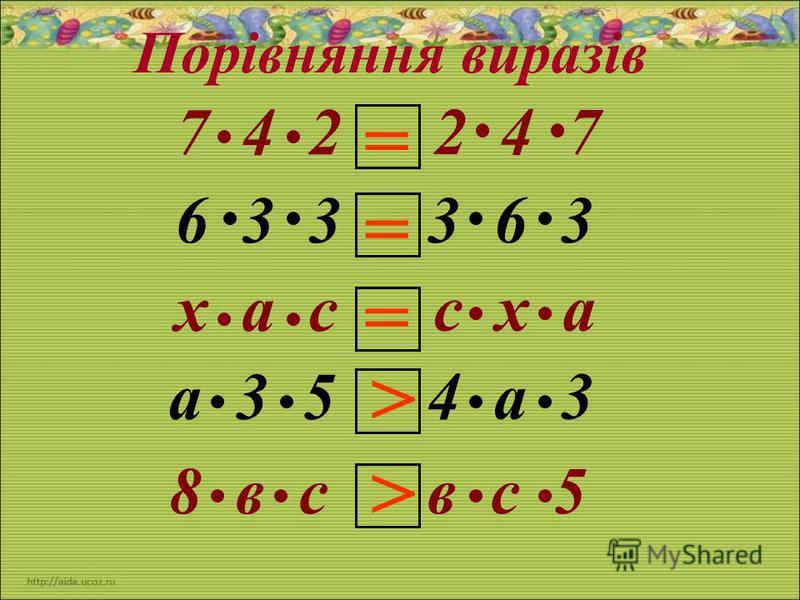 7 4 2 6 3 3 х а с а 3 5 8 в с Порівняння виразів 2 4 7 3 6 3 с х а 4 а 3 в с 5 = > > = =