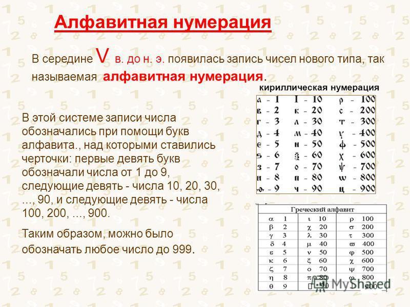 В середине V в. до н. э. появилась запись чисел нового типа, так называемая алфавитная нумерация. Алфавитная нумерация В этой системе записи числа обозначались при помощи букв алфавита., над которыми ставились черточки: первые девять букв обозначали