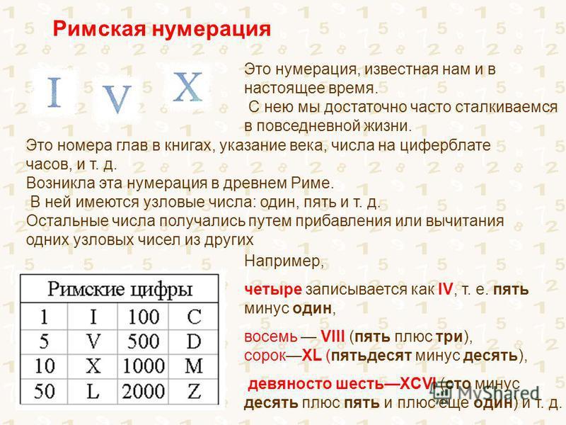 Римская нумерация Это номера глав в книгах, указание века, числа на циферблате часов, и т. д. Возникла эта нумерация в древнем Риме. В ней имеются узловые числа: один, пять и т. д. Остальные числа получались путем прибавления или вычитания одних узло