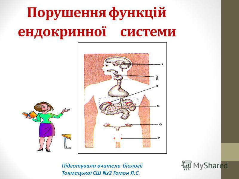 Порушення функцій ендокринної системи Підготувала вчитель біології Токмацької СШ 2 Гомон Я.С.