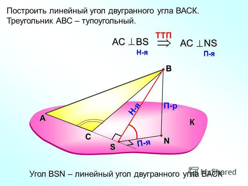 Построить линейный угол двугранного угла ВАСК. Треугольник АВС – тупоугольный. А В N П-р Н-я П-я TTП АС ВS H-я H-я АС NS П-я П-я Угол ВSN – линейный угол двугранного угла ВАСК К С S