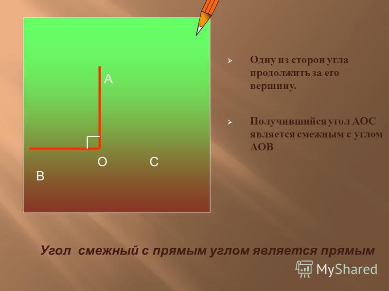 Одну из сторон угла продолжить за его вершину. Получившийся угол АОС является смежным с углом АОВ А В ОС Угол смежный с прямым углом является прямым