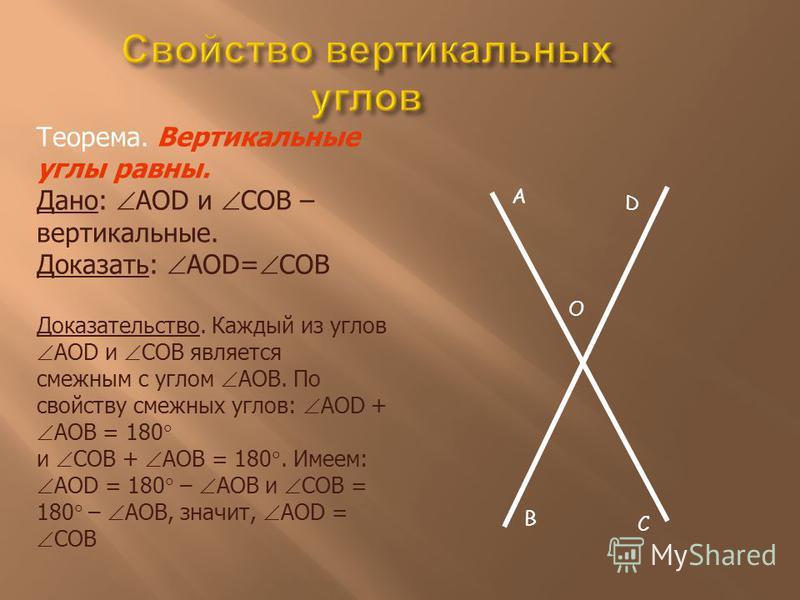 A O D B C Теорема. Вертикальные углы равны. Дано: AOD и COB – вертикальные. Доказать: AOD= COB Доказательство. Каждый из углов AOD и COB является смежным с углом AOB. По свойству смежных углов: AOD + AOB = 180 и COВ + AOB = 180. Имеем: AOD = 180 – AO