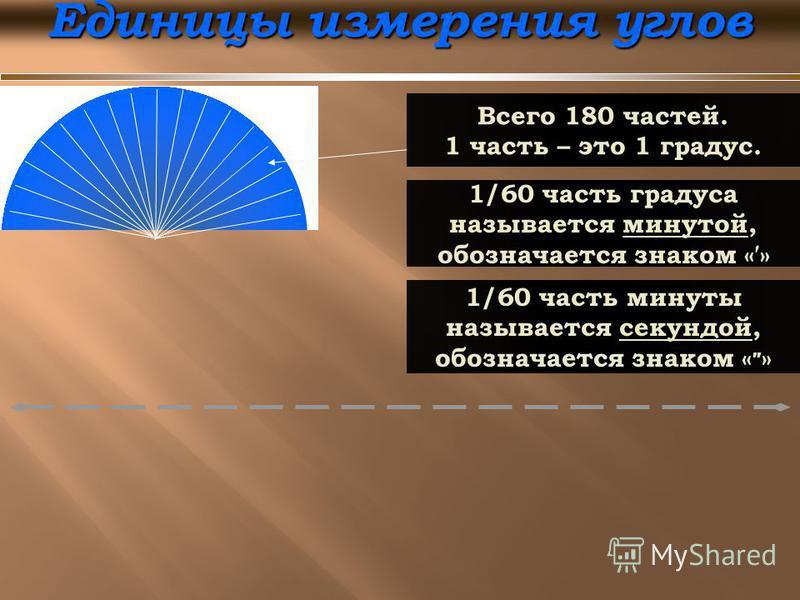 Единицы измерения углов Всего 180 частей. 1 часть – это 1 градус. 1/60 часть градуса называется минутой, обозначается знаком «» 1/60 часть минуты называется секундой, обозначается знаком « »
