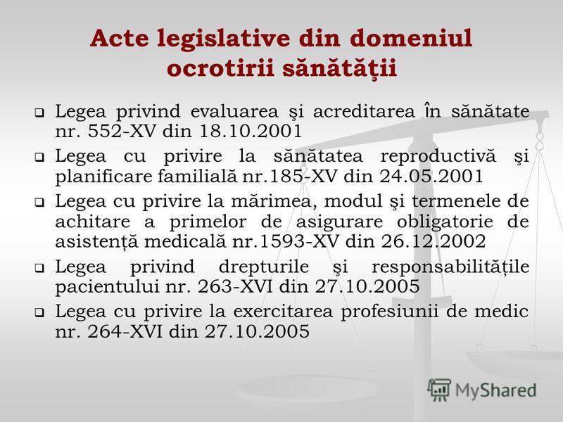 Acte legislative din domeniul ocrotirii sănătăţii Legea privind evaluarea şi acreditarea î n sănătate nr. 552-XV din 18.10.2001 Legea cu privire la sănătatea reproductivă şi planificare familială nr.185-XV din 24.05.2001 Legea cu privire la mărimea,