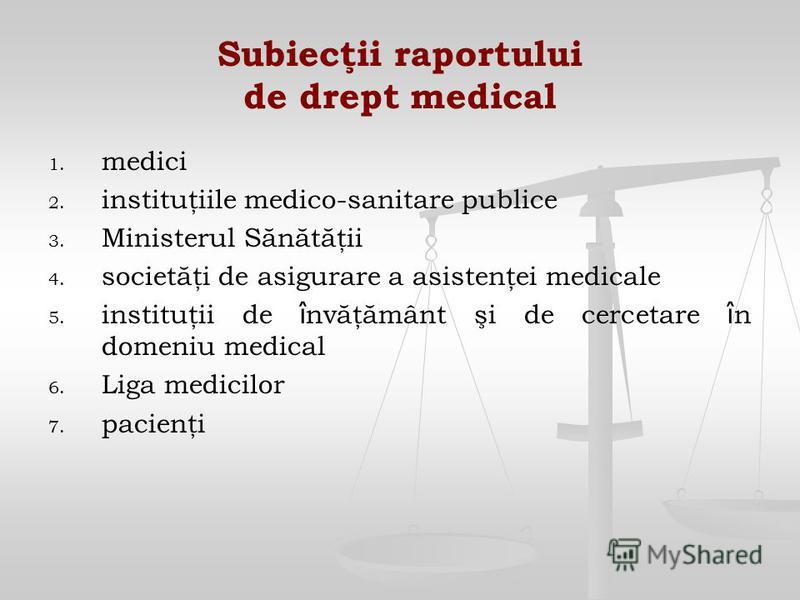 Subiecţii raportului de drept medical 1. 1. medici 2. 2. instituţiile medico-sanitare publice 3. 3. Ministerul Sănătăţii 4. 4. societăţi de asigurare a asistenţei medicale 5. 5. instituţii de î nvăţământ şi de cercetare î n domeniu medical 6. 6. Liga
