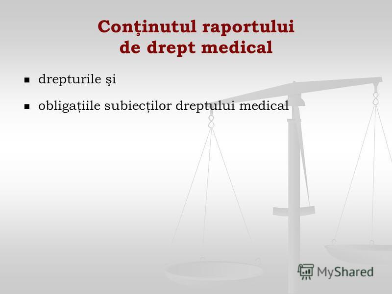 Conţinutul raportului de drept medical drepturile şi obligaţiile subiecţilor dreptului medical