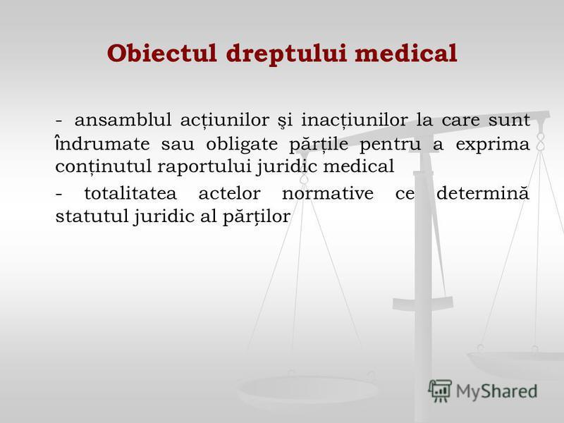 Obiectul dreptului medical - ansamblul acţiunilor şi inacţiunilor la care sunt î ndrumate sau obligate părţile pentru a exprima conţinutul raportului juridic medical - totalitatea actelor normative ce determină statutul juridic al părilor