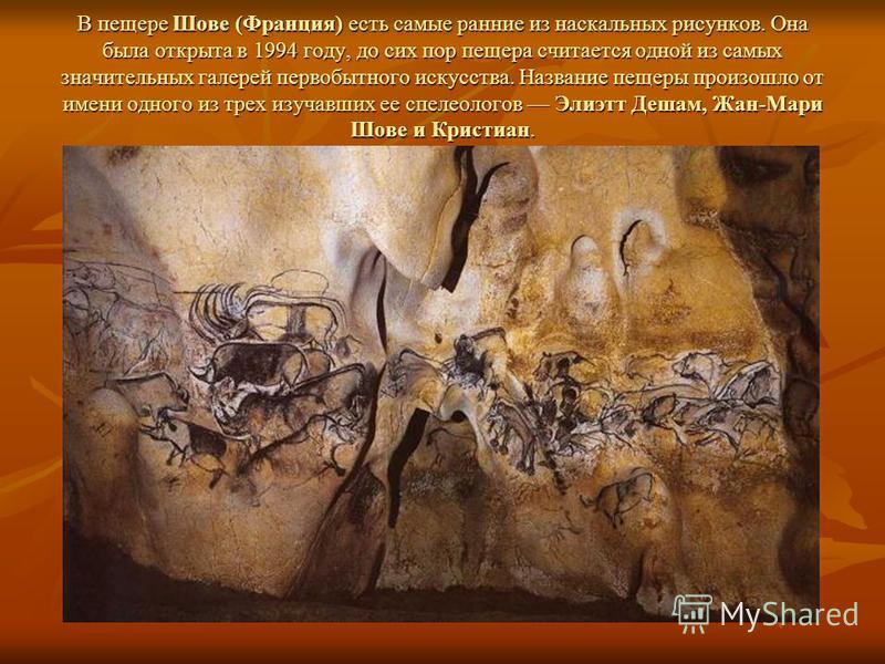 В пещере Шове (Франция) есть самые ранние из наскальных рисунков. Она была открыта в 1994 году, до сих пор пещера считается одной из самых значительных галерей первобытного искусства. Название пещеры произошло от имени одного из трех изучавших ее спе