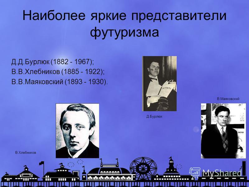 Наиболее яркие представители футуризма Д.Д.Бурлюк (1882 - 1967); В.В.Хлебников (1885 - 1922); В.В.Маяковский (1893 - 1930). Д.Бурлюк В.Маяковский В.Хлебников