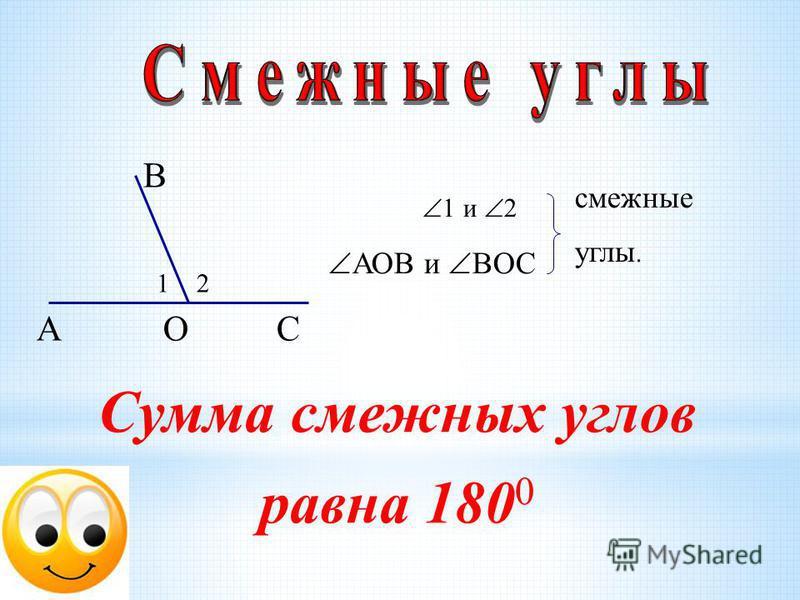 А В СО 12 1 и 2 АОВ и ВОС смежные углы. Сумма смежных углов равна 180 0